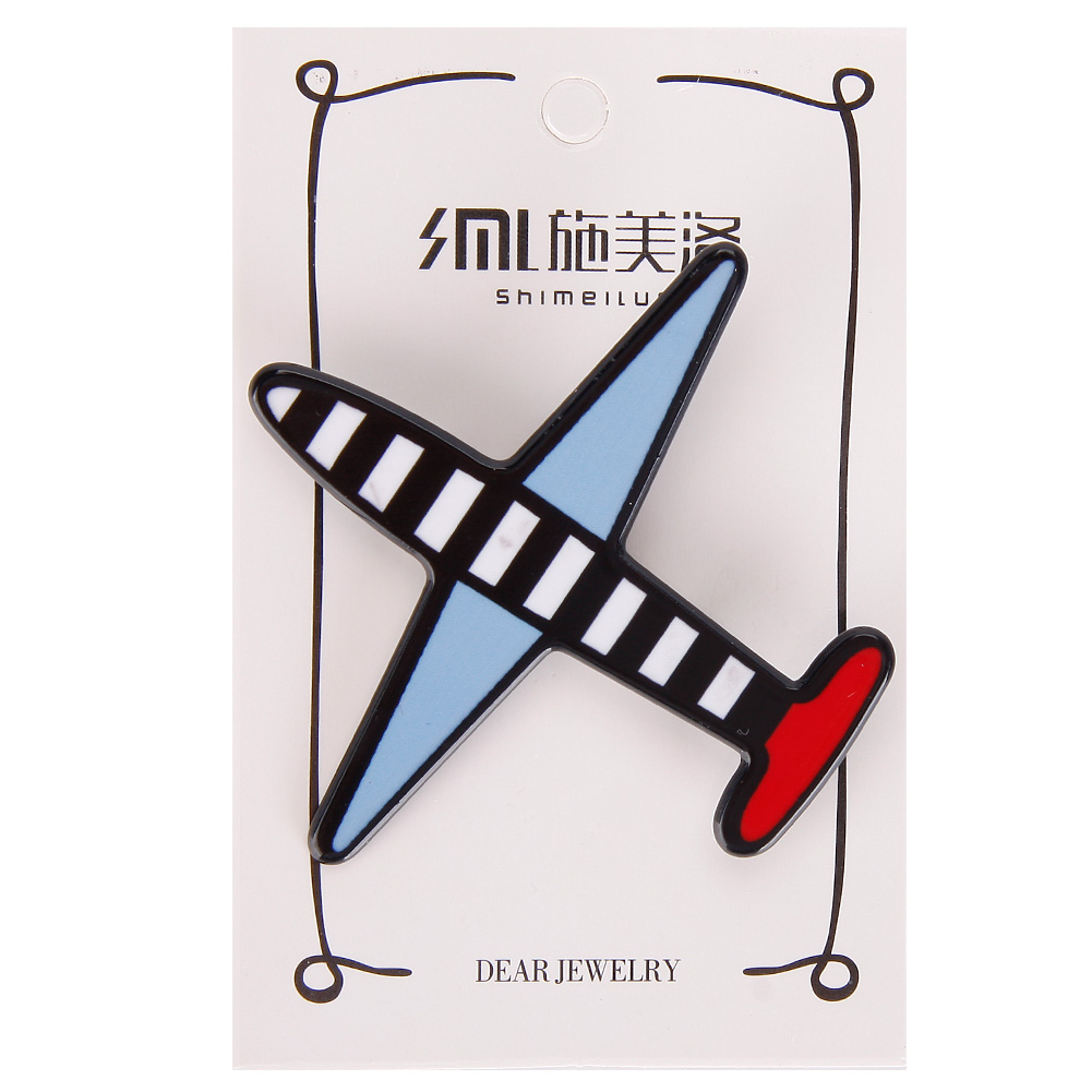 1PC Cute Funny Airplane Collar Pins Badge Corsage Cartoon Brooch Jewelery Accessories