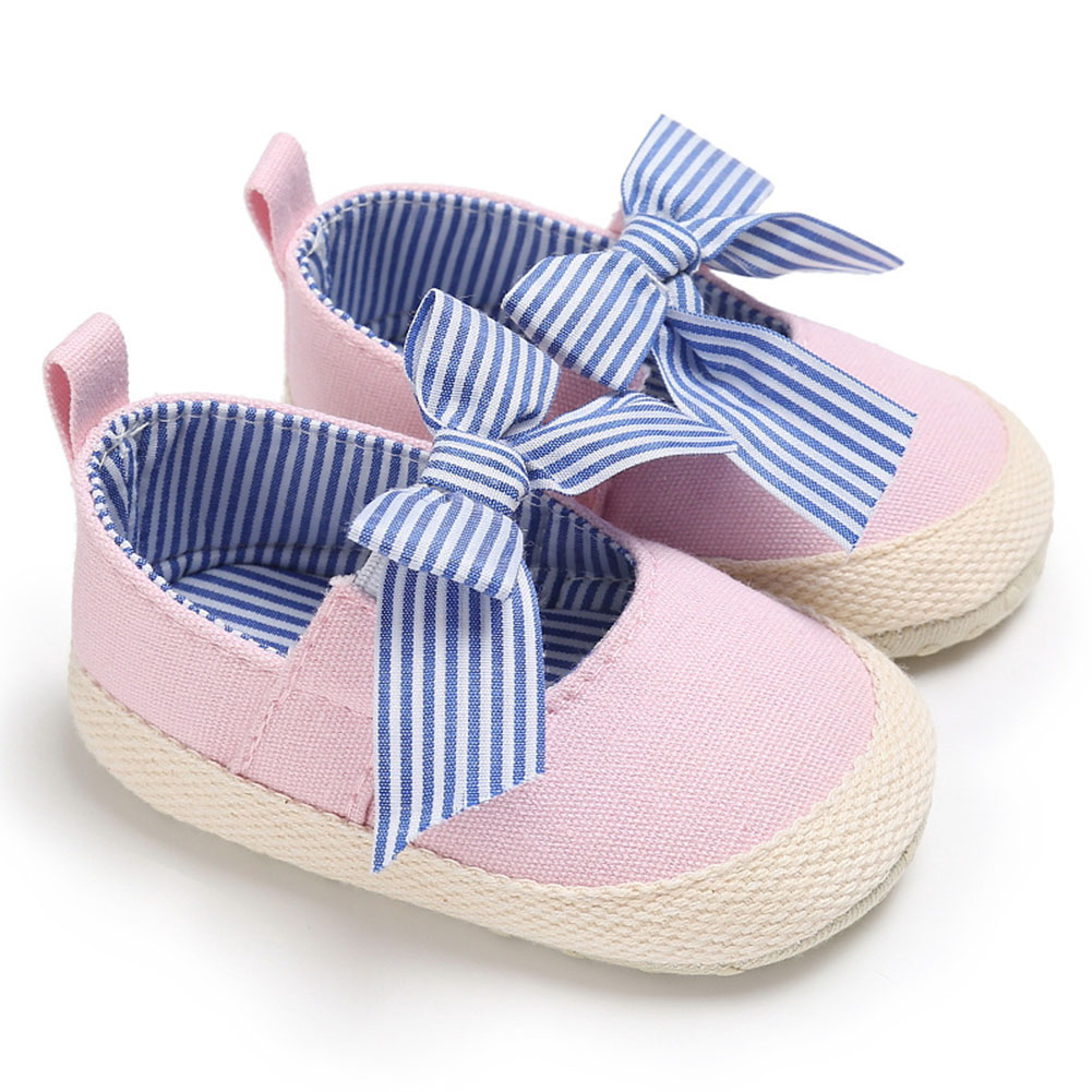 Newborn 0-12M Infants Baby Girls Soft Crib Sole Shoes Stripes Bowknot Canvas Sneakers