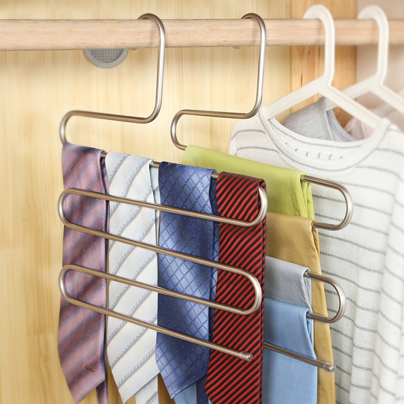 Durable S Type Multi-function Pants Hanger 5 Layers Stainless Steel Trousers Towel Holder Rack