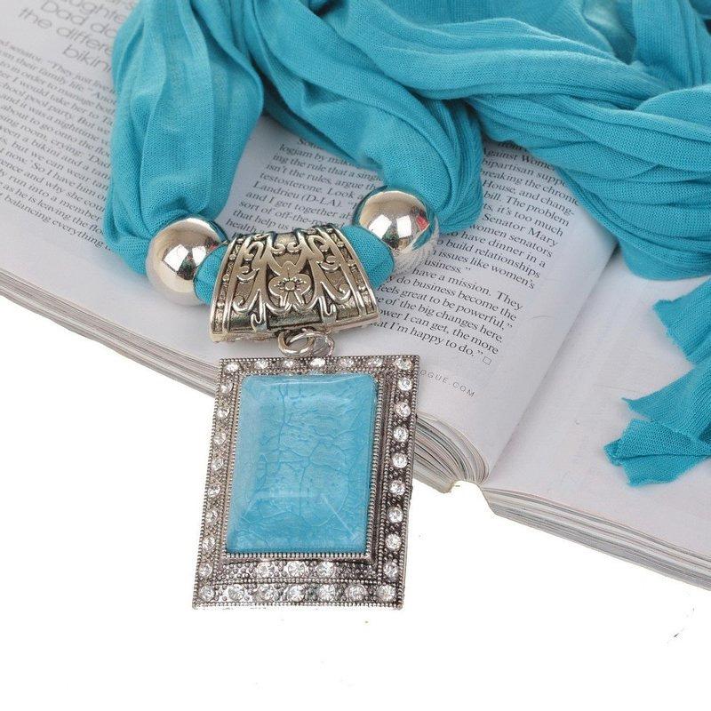 Rectangle Resin Rhinestone Gem Pendant Fabric Shawl Scarf Wrap Necklace Jewelry