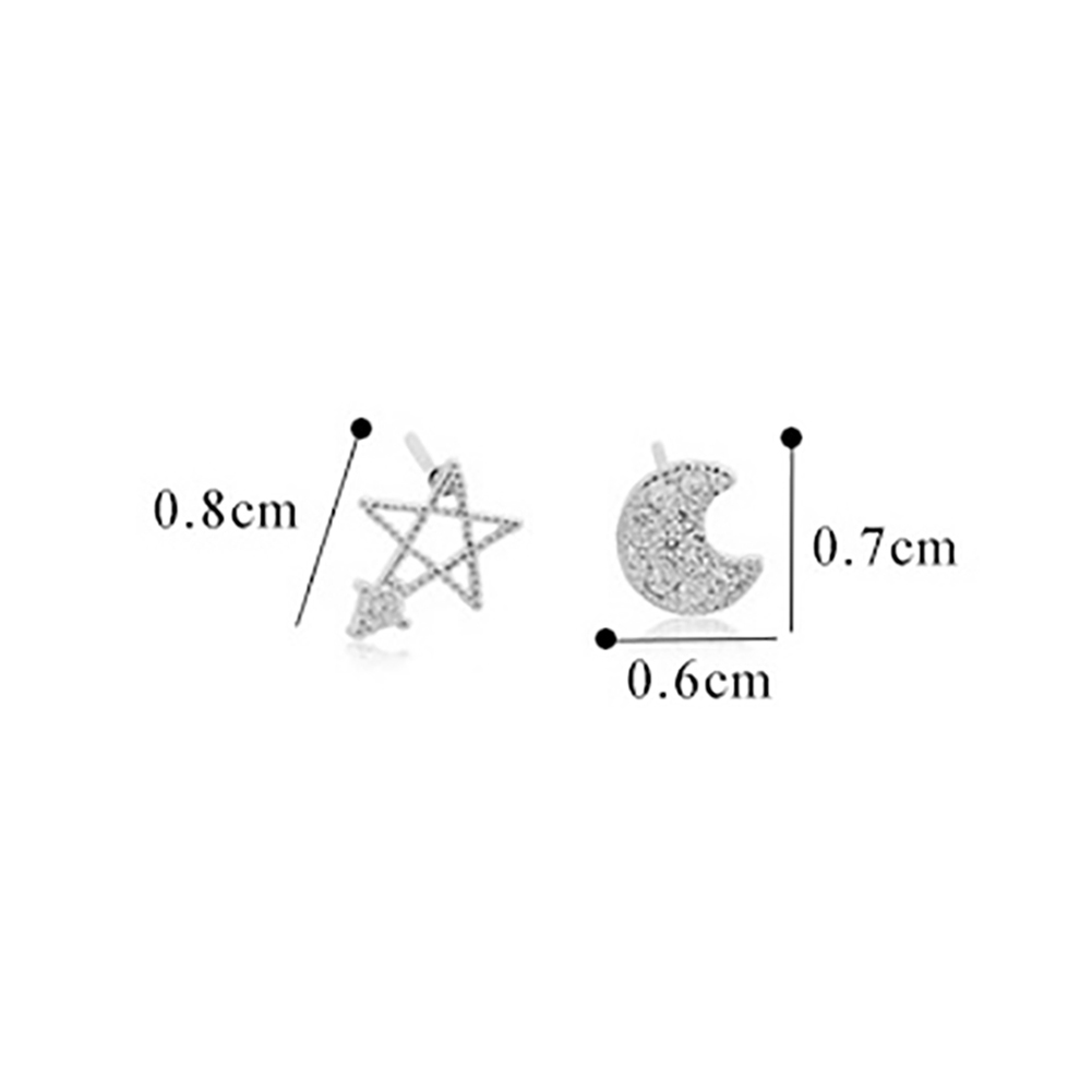 2018 Valentine's Day Gift Exquisite Crystal Moon Star Stud Earrings Asymmetric Earrings For Women Jewelry