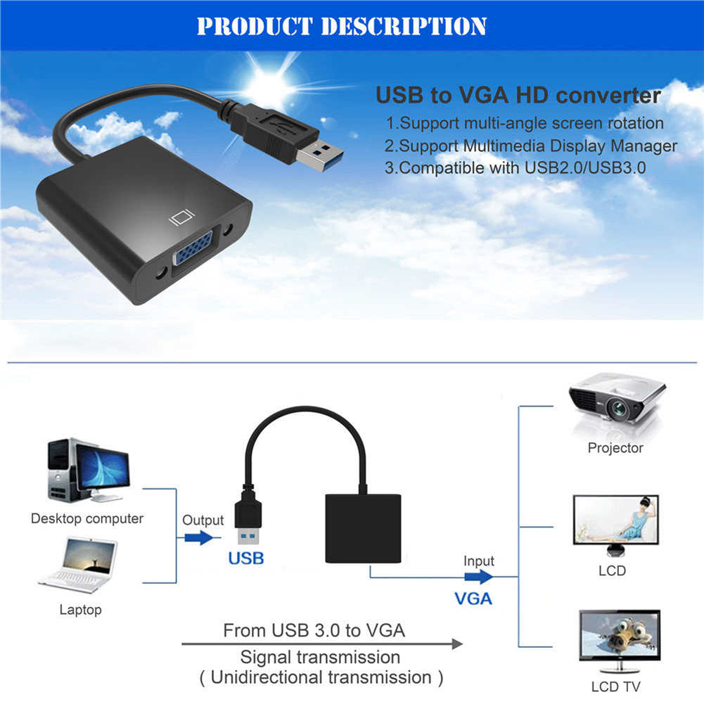 USB 3.0 2.0 to VGA 1080P Multi-display Adapter Converter For Computer Projector