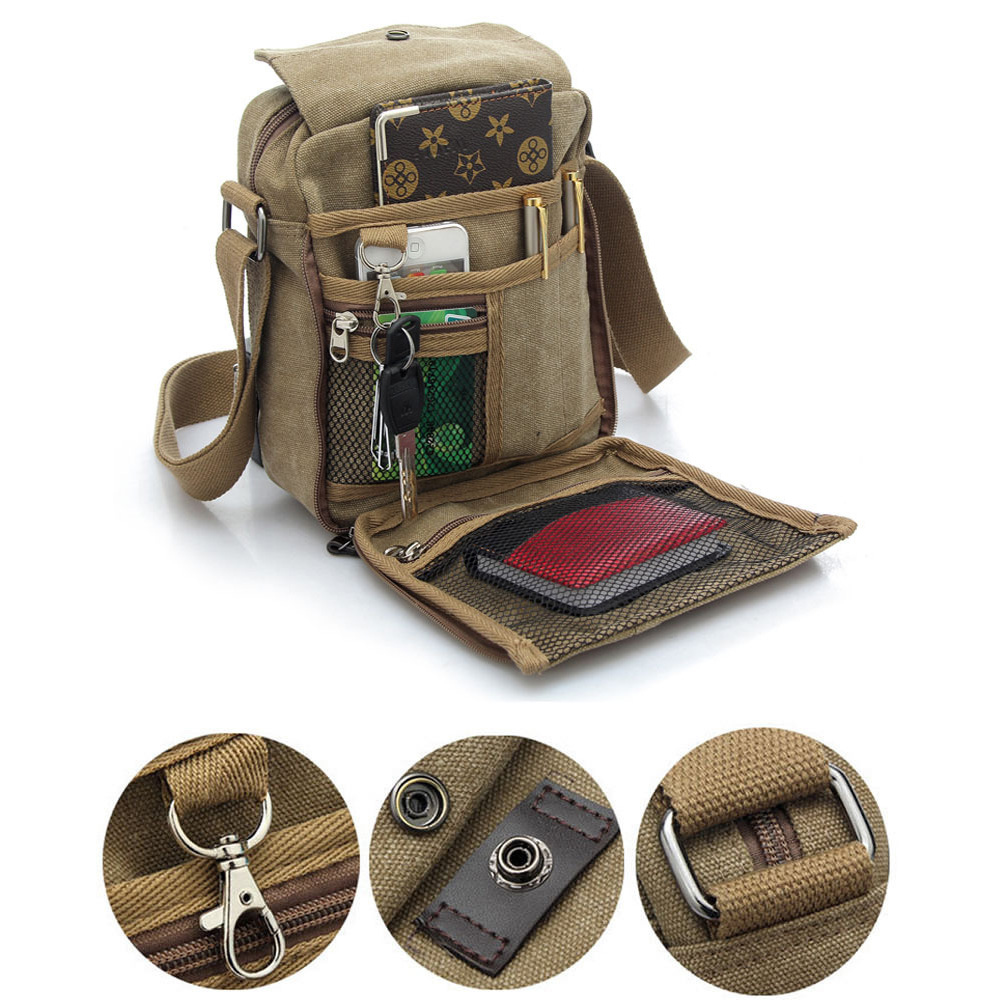 Men's Vintage Canvas Leather Satchel School Military Shoulder Bag Messenger Bag 3 Colors