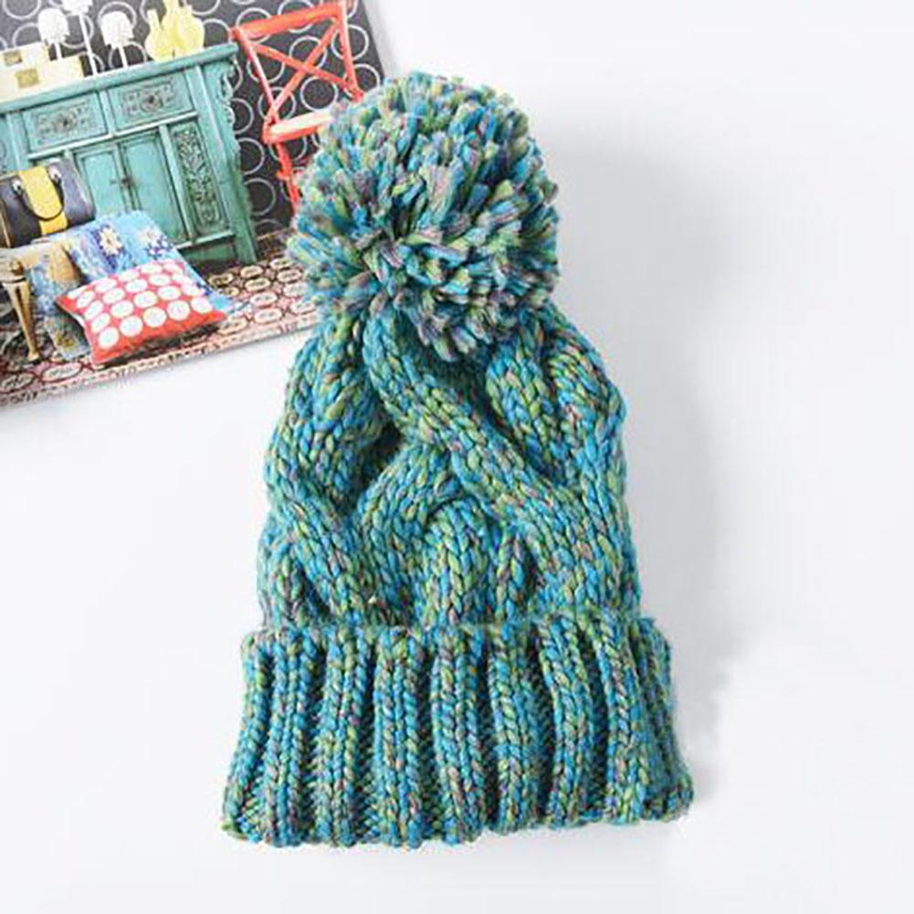 Women Lady Knit Wool Crochet Ball Cap Beanie Wool Baggy Ski Hat Winter Warm