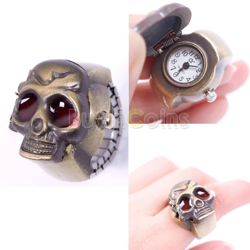 New Creative Fashion Lady Girl Man Steel Skull Elastic Quartz Finger Ring Watch