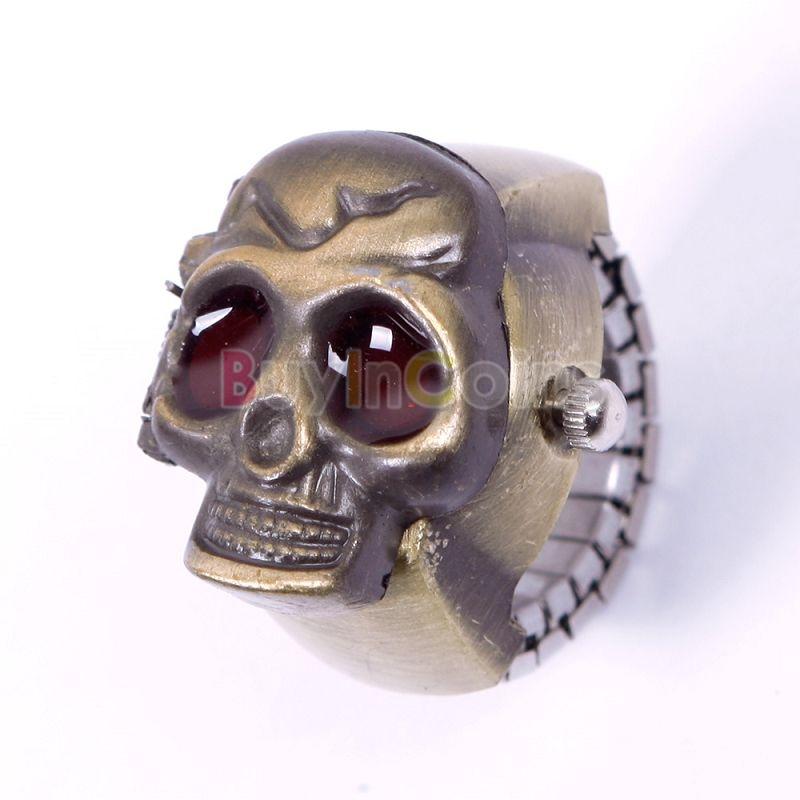 New Creative Fashion Lady Girl Man Steel Skull Elastic Quartz Finger Ring Watch