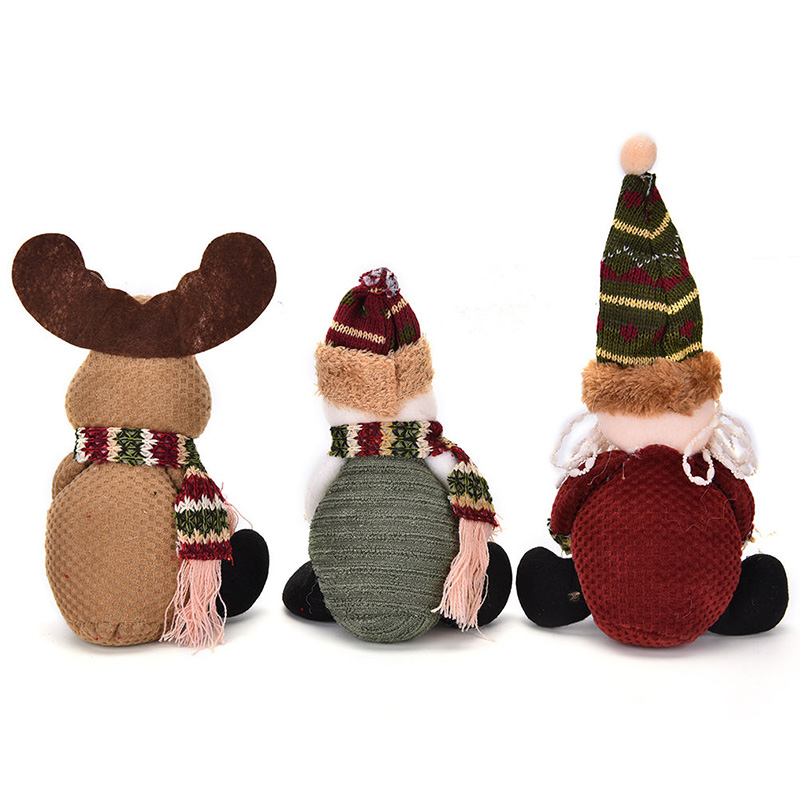 1Pc Cute Flannel Christmas Fabric Xmas Santa Snowman Elk Doll Muppet Candy Bag Ornament Gift For Kids
