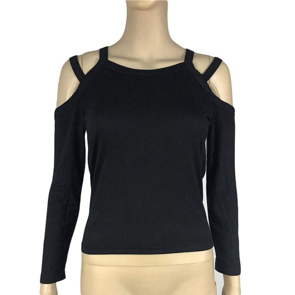 Fashion Women Sexy Knitted Long Sleeve Strapless Slim Fit Ladies Casual Top T-Shirt