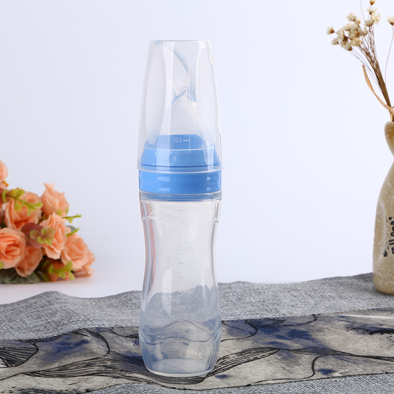 Candy Color Baby Silicone Squeeze Feeding Bottle Great for Milk Rice Paste With Spoon Feeder