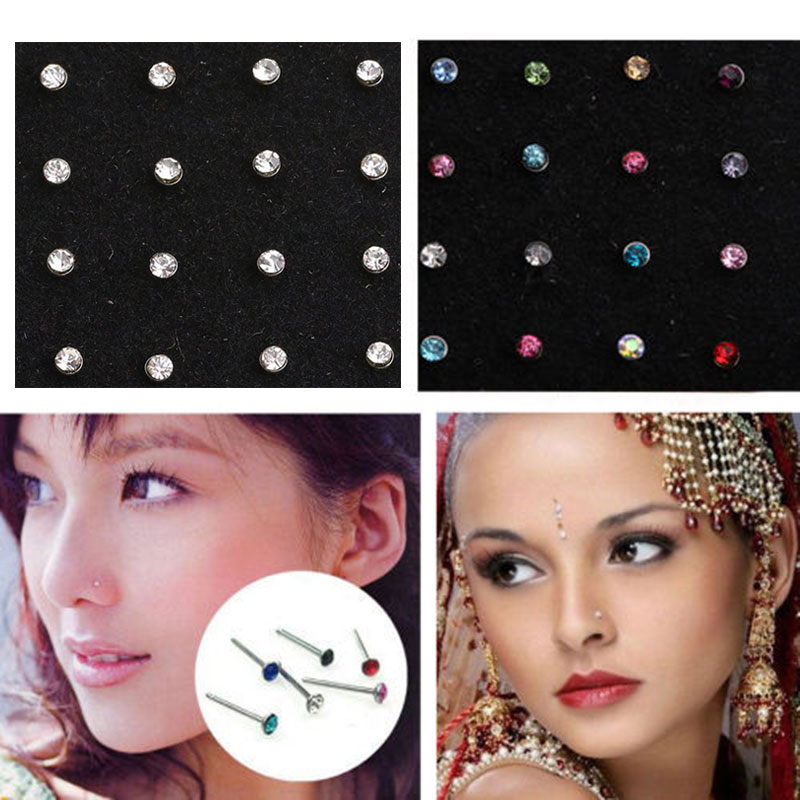 60x Crystal Rhinestone Nose Ring Bone Stud Surgical Steel Body Piercing Jewelry