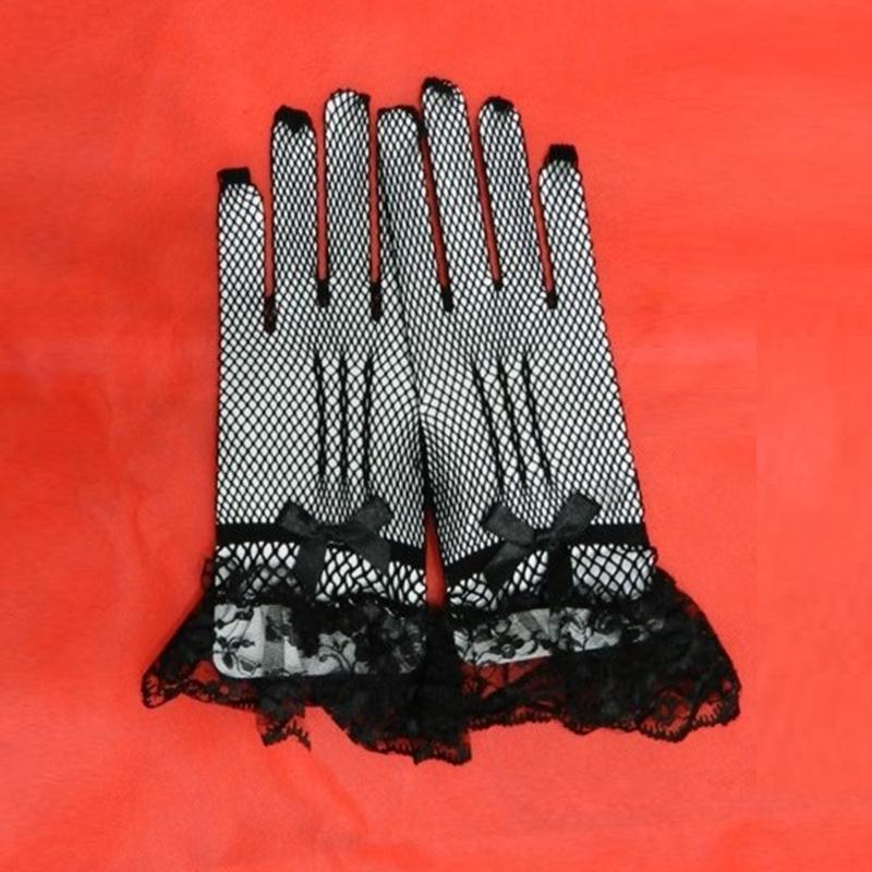 Women Lady Wrist Length Lace Fishnet Mesh Wedding Bowknot Gloves Black/White