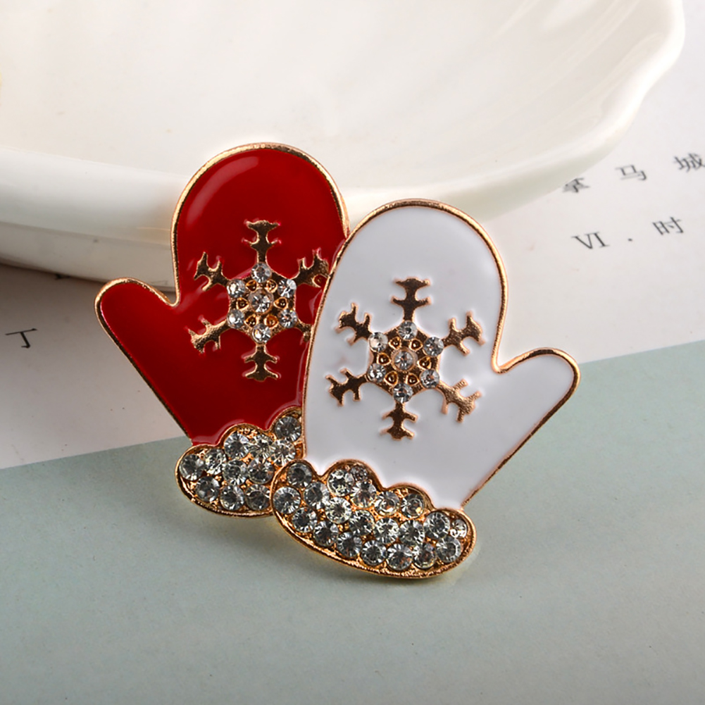 Christmas Crystal Rhinestone Snowflake Enamel Gloves Brooches Pins Loves Jewelry Gift
