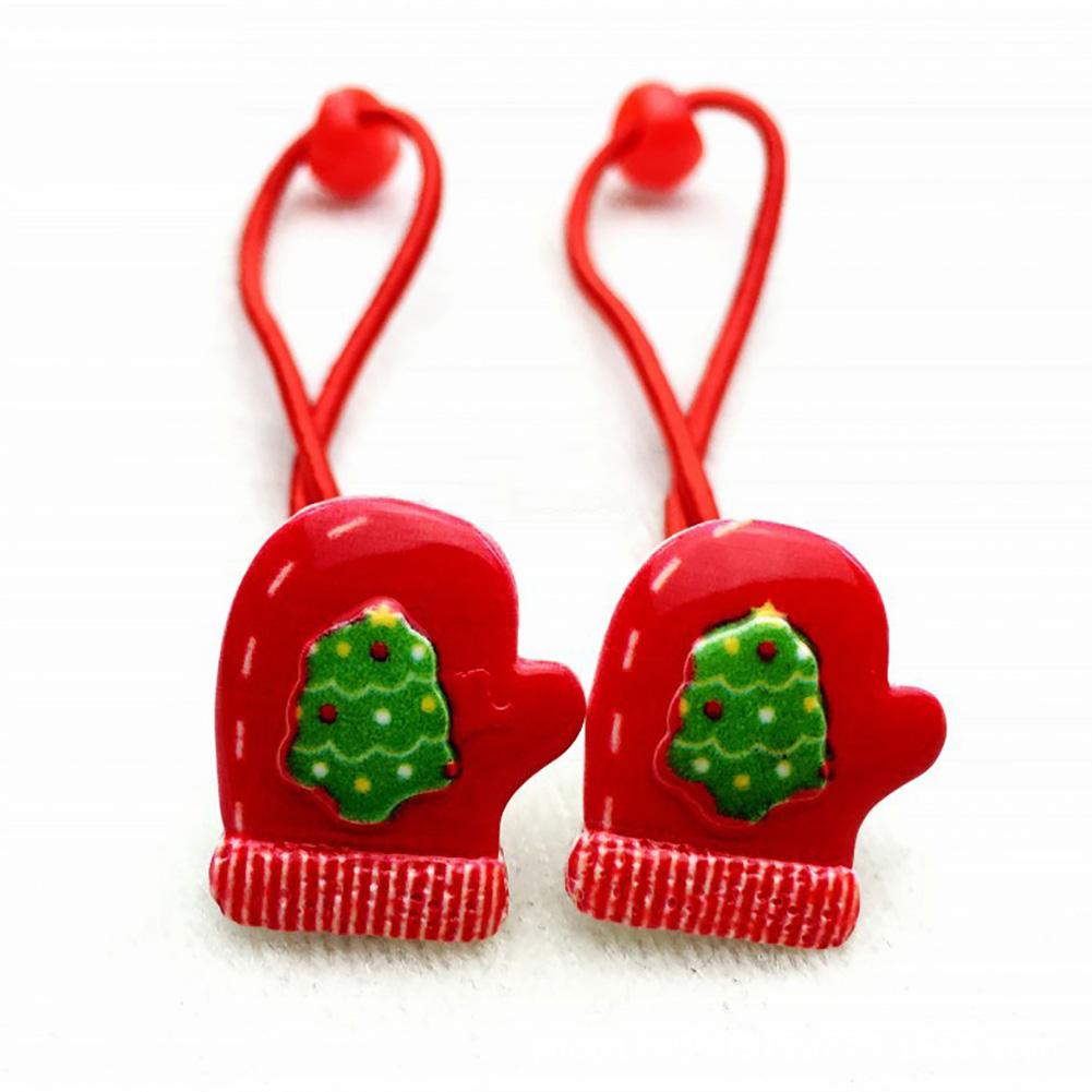 10Pcs Merry Christmas Hair Elastic Bands Red Bow Animals Headband Ropes Mini Hair Band