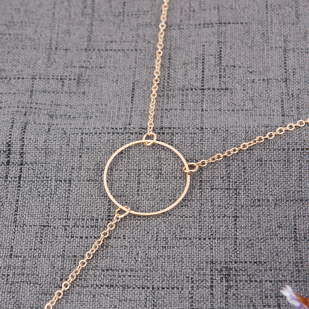 New Women Metal Ring Tassel Necklace Pendant Necklaces Simple Style Jewelry