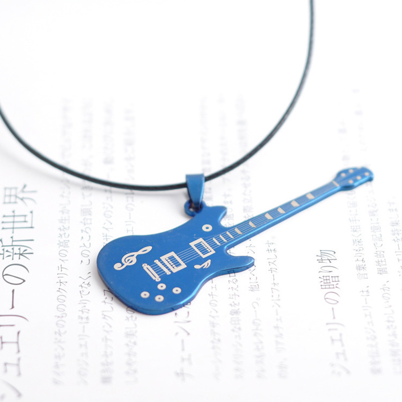 Men's Unisex Stainless Steel Guitar Pendant Leather Necklace Fashion Jewelry