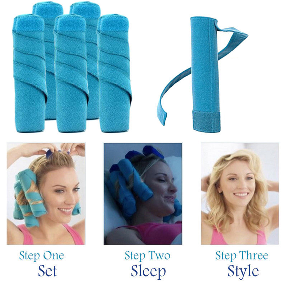 "Soft Natural Curls New Comfortable For Sleep 1pcs Beauty Hair Care Style in Sleep Kit 6"" Long Rollers Curlers Easy to USE"