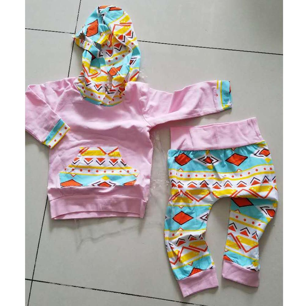 Newborn Baby Girls Boys Floral Hooded Tops Long Pants Outfits 2PCS Set Clothes