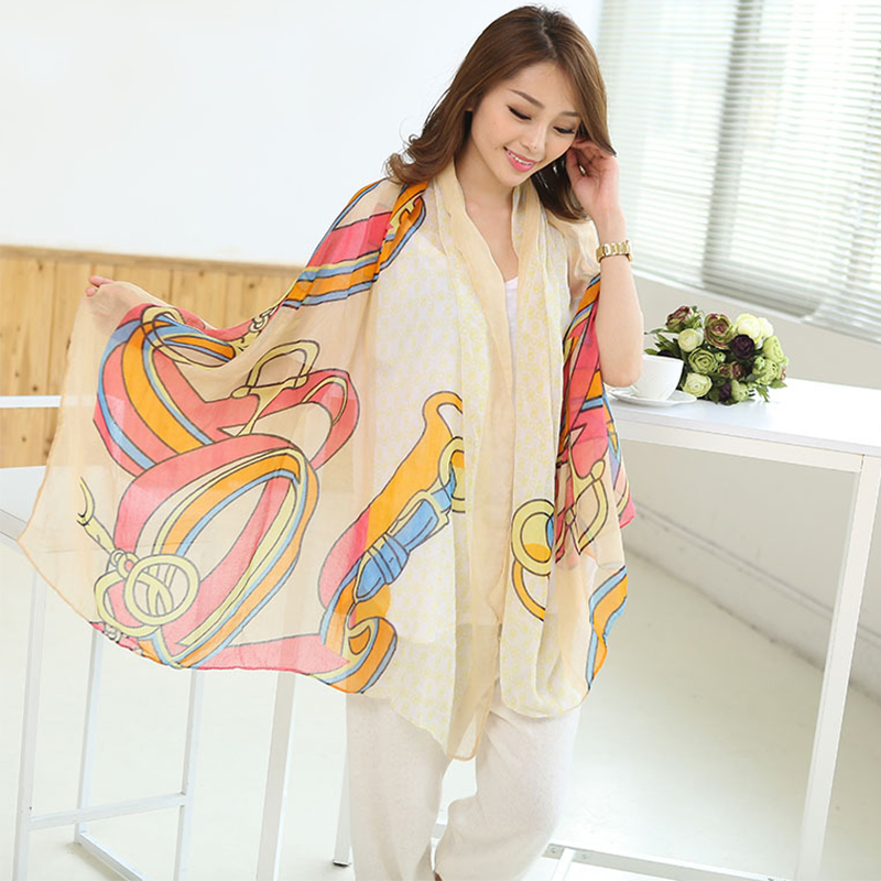 Womens Elegant Buckle Geometry Printed Voile Scarf Long Shawl Wrap Colorful