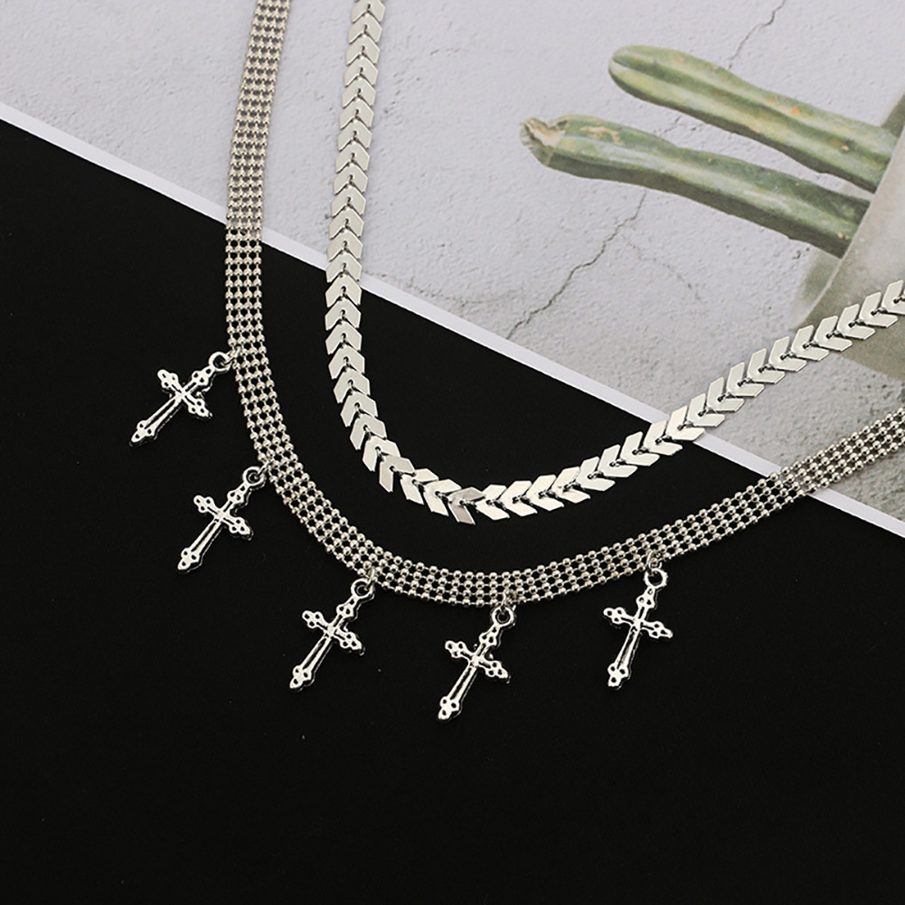 Fashion Women's Cross Pendant Double Layer Gold Silver Chain Choker Necelace Boho Jewelry Gift