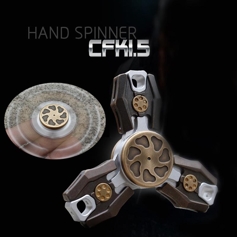 CKF Hand Tri-Spinner Fidget Focus Toy EDC Finger Copper Gyroscope Toy Gift