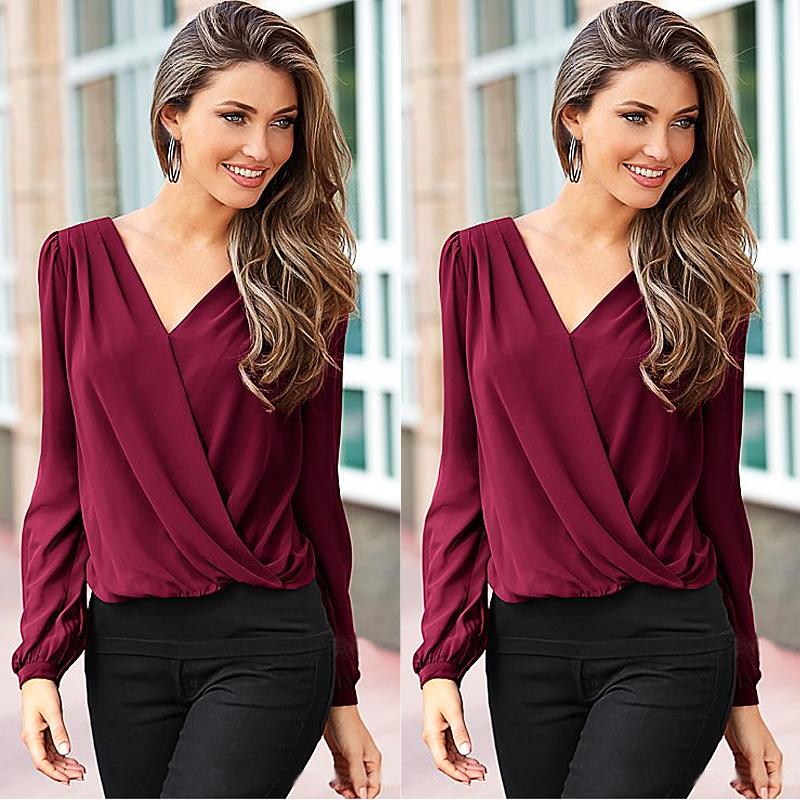 Sexy Women Ladies V Neck Long Ruffle Sleeve Top Back Lace Blouse Shirt