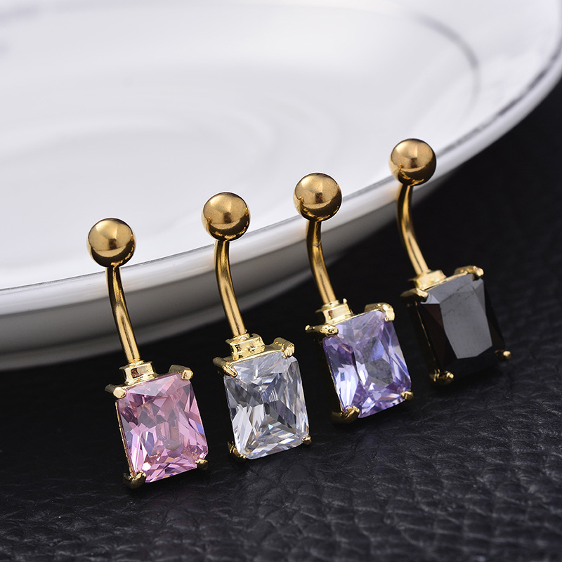 Sexy Square Crystal Navel Belly Ring Bar Surgical Steel Body Piercing Jewelry