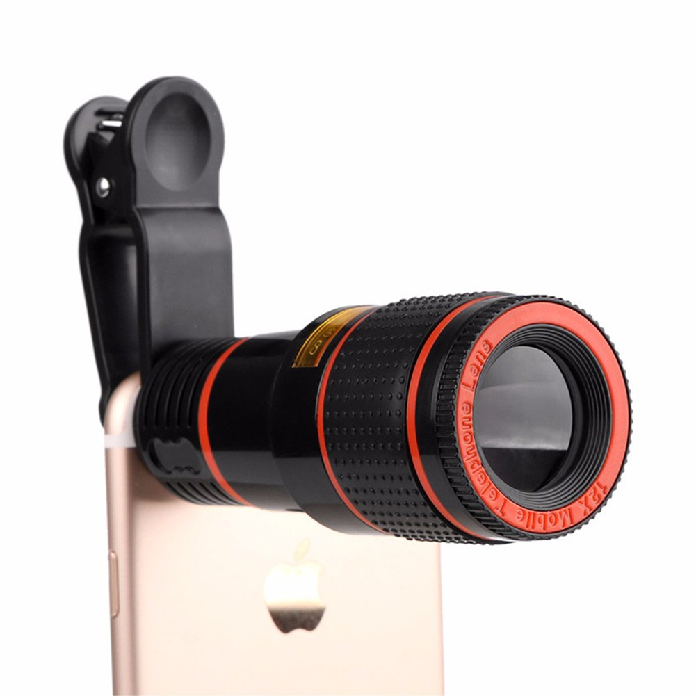 12X Zoom Mobile Phone Lens Clip-on Telescope Camera Lens For iPhone 7 Plus 6S Plus Samsung S8 S7 Edge