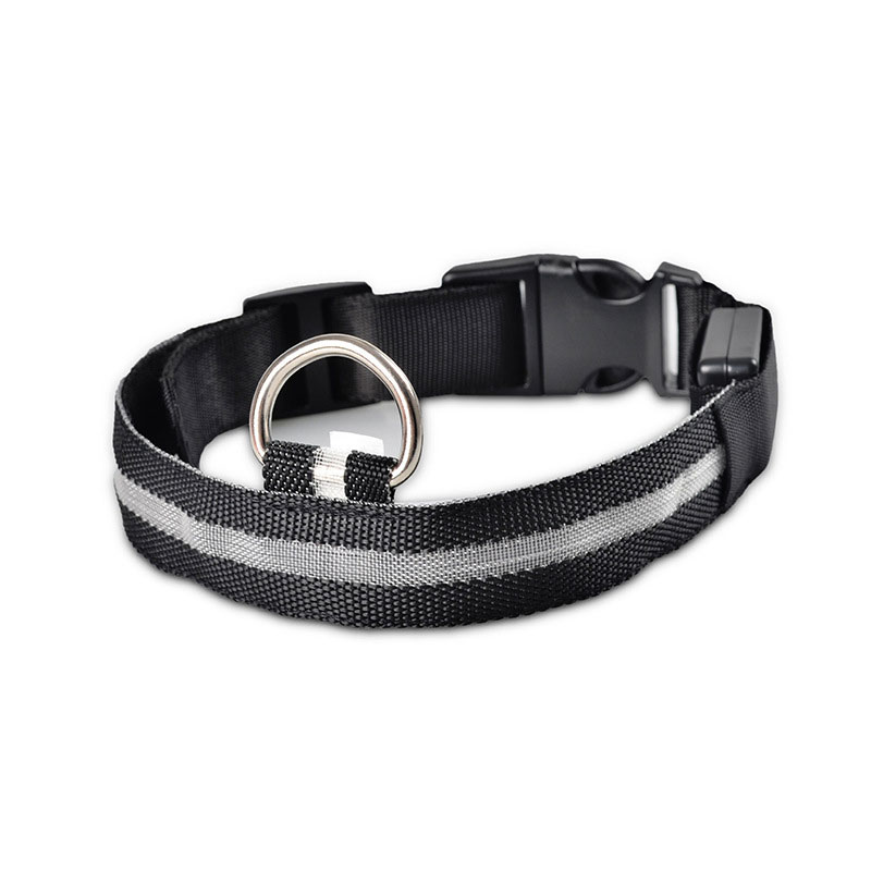 Pets Dog LED Lights Flash Night Safety Polyester Collar Adjustable 43*2.5cm