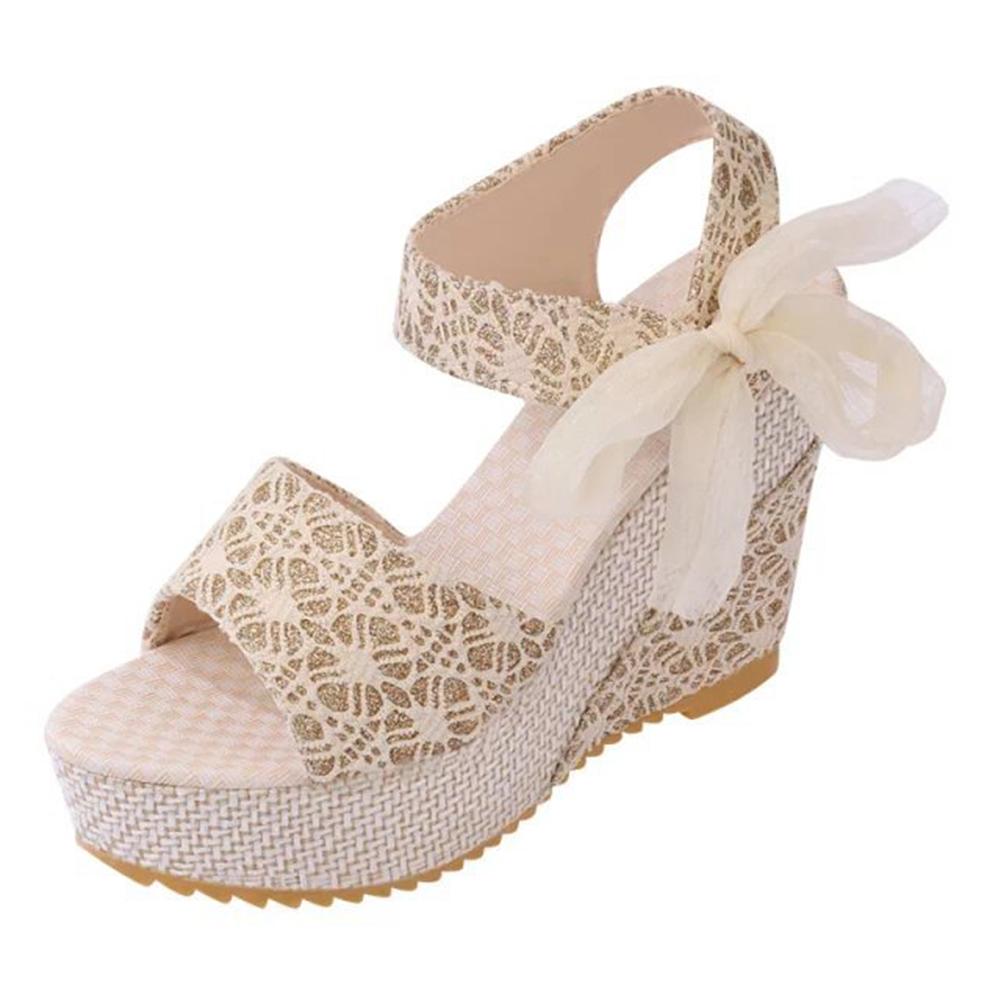 Fashion Women Sandals Summer Wedges Women's Platform Lace Belt Bow Flip Flops Open Toe High Heel Women Shoes Females