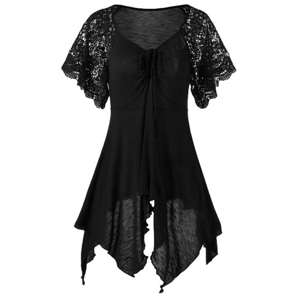 Fashion Sexy Plus Size Lace Sleeve Women Self Tie Handkerchief Top Irregular Blouse