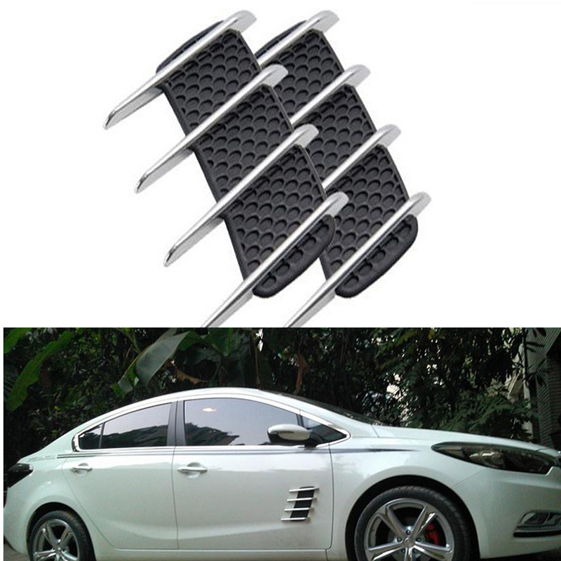 2 Pcs Car Fender Body Simulation Shark Gill Air Vent Intake Flow Grille Sticker