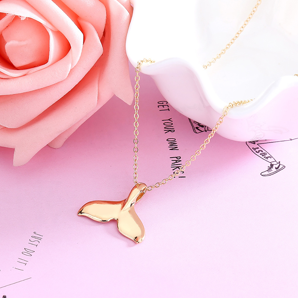 Retro Women Mermaid Tail Pendant Choker Necklace Whale Tail Gold Silver Chain Jewelry Accessories Gift
