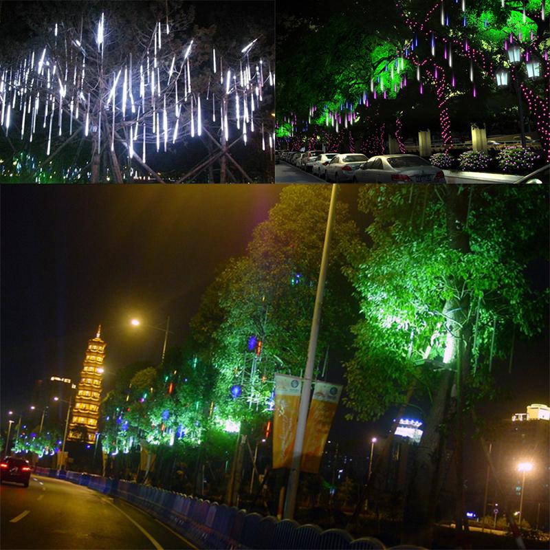 50cm 240 LED Lights 8 Tubes Meteor Shower Rain Snowfall Tree Home Garden Xmas US