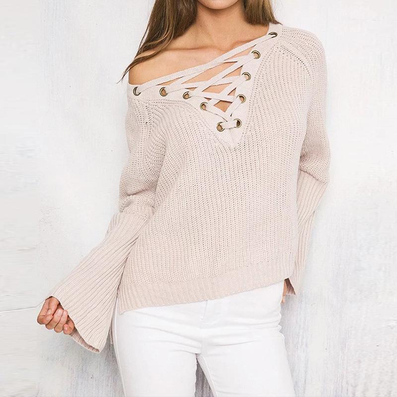 Lace Up Winter Sweater Women Fashion Loose Top Knitwear Sexy Jumper Elastic Hem Pullover Outwear