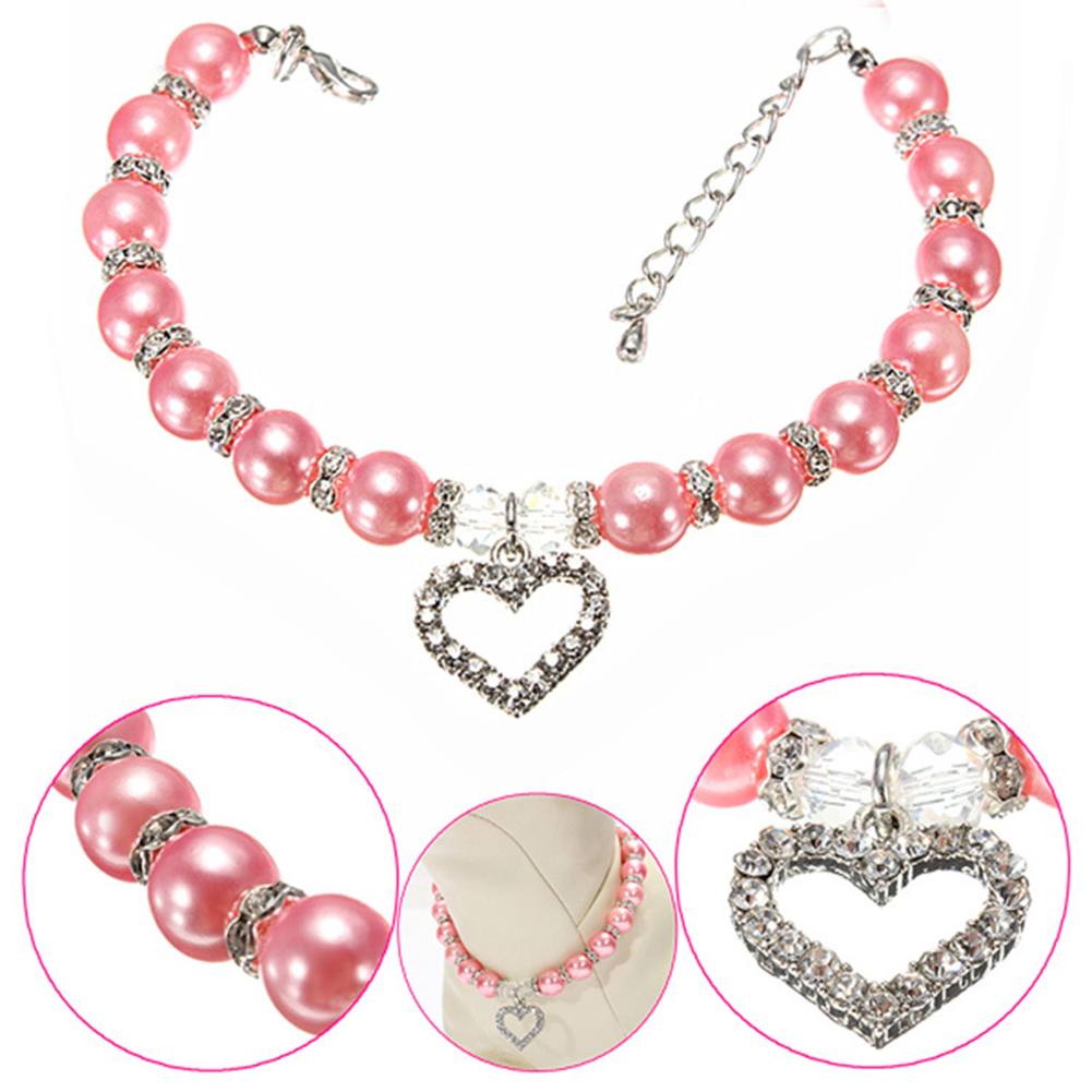 Pet Crystal Necklace Dog Pendant Pearl Cat Identity Collar Pet Jewelry S/M/L Size