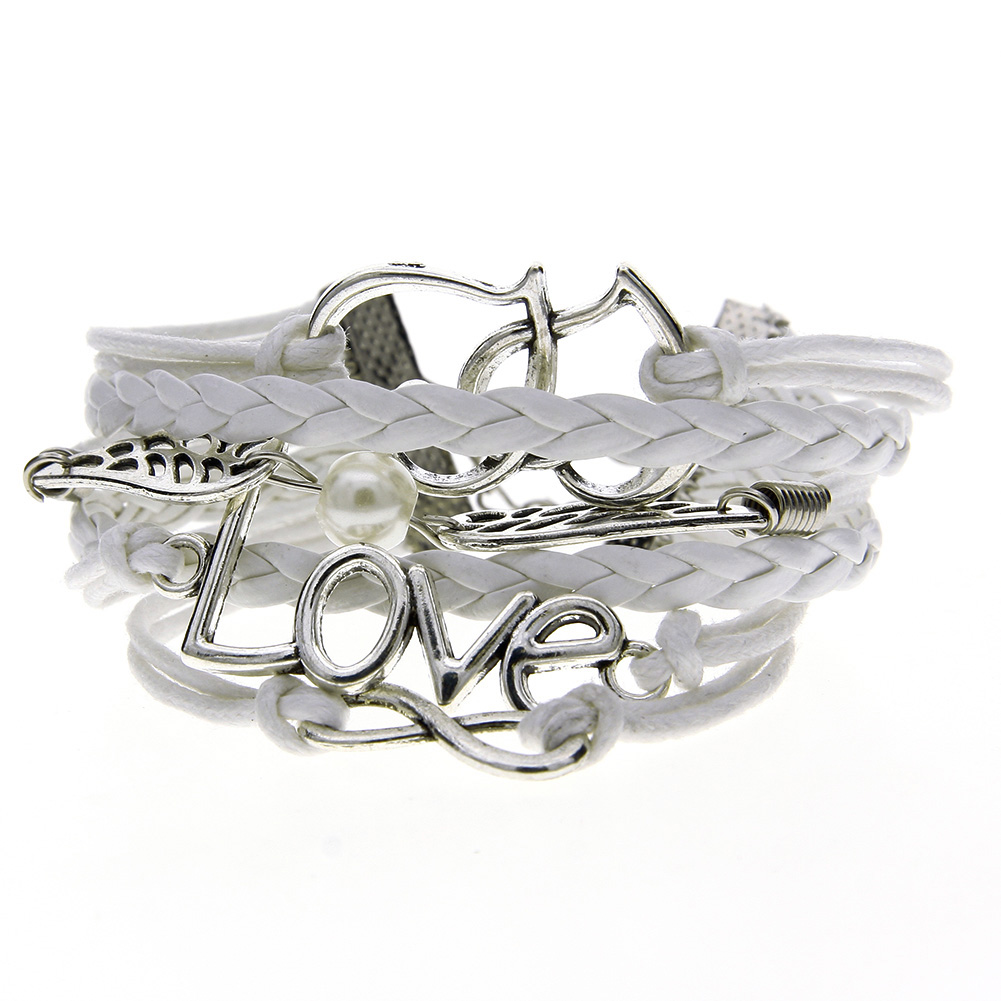 Fashion Womens Leather Multilayer Cute Infinity Love Heart Wings Charms Friendship Bracelet