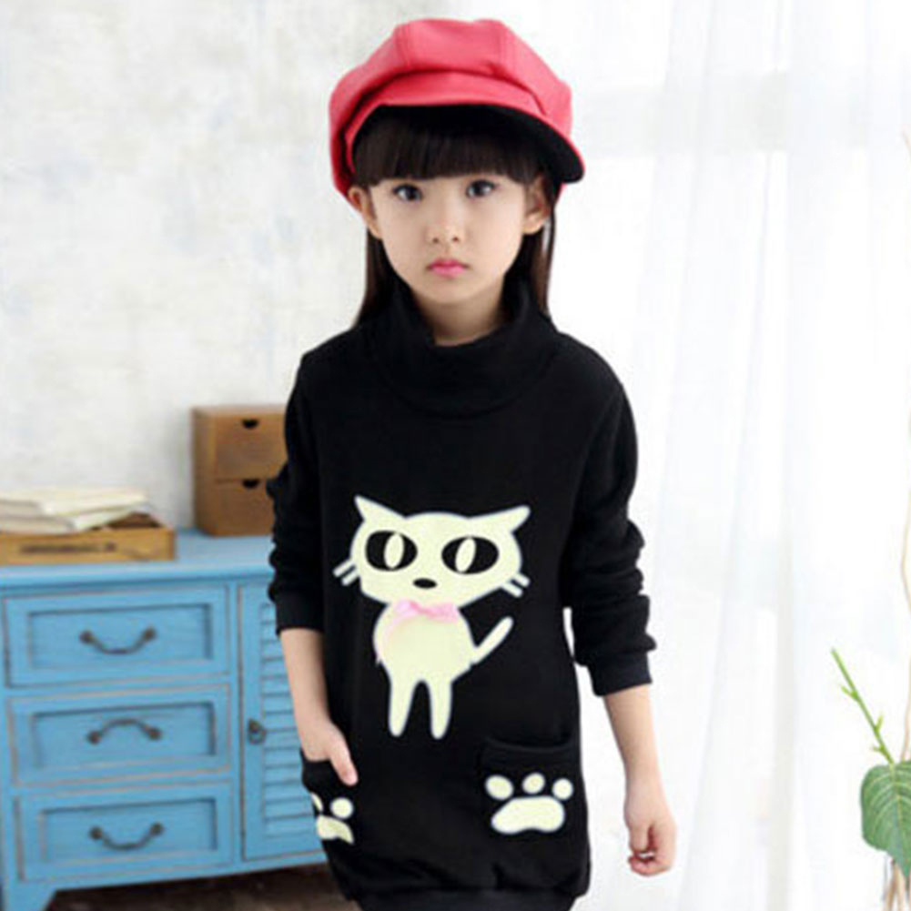 Baby Girls Long Sleeve Jersey Children Cartoon Cat Print Long Hoody Kids Cotton Outerwear Top
