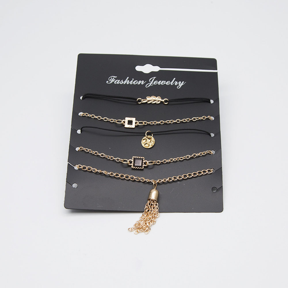 5 Pcs/Set Leaf Tassel Geometric Round Bracelet Anklet Set Women's Boho Gold Chain Jewelry