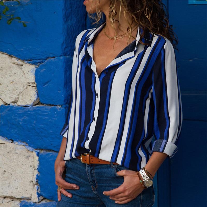 Women Blouses 2018 Fashion Long Sleeve Turn Down Collar Office Shirt Chiffon Blouse Shirt Casual Tops Plus Size Blusas Femininas