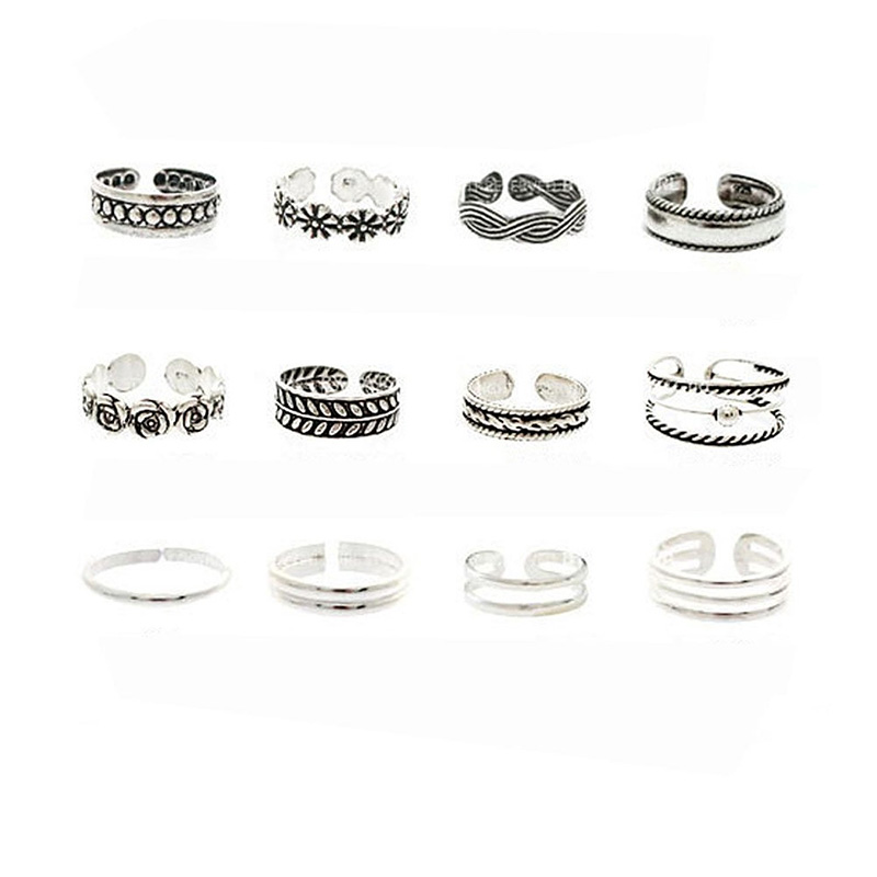 12Pcs Set Retro Fashion Women Jewellery Celebrity Simple Adjustable Toe Ring Midi Ring