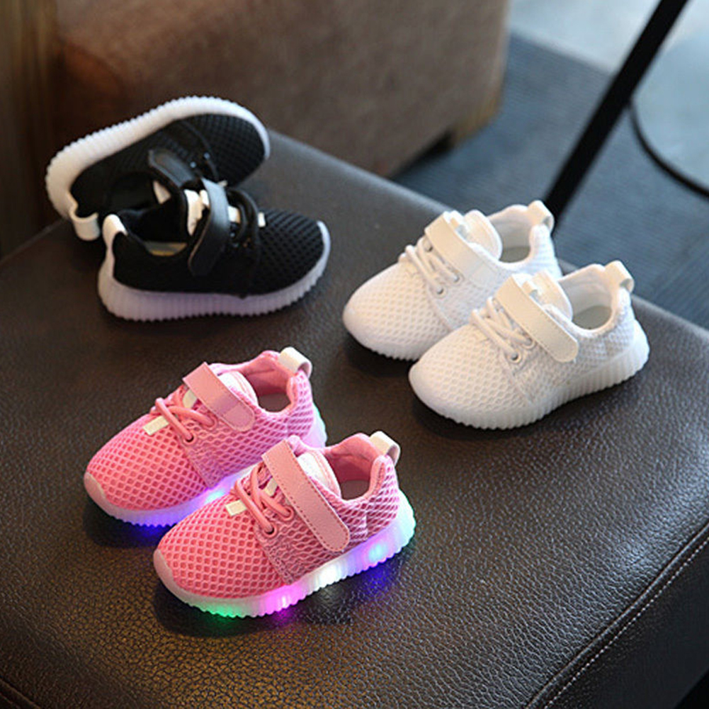 Toddler Children Boys Girls Kid LED Light Running Athletics Sneakers Baby Shoes