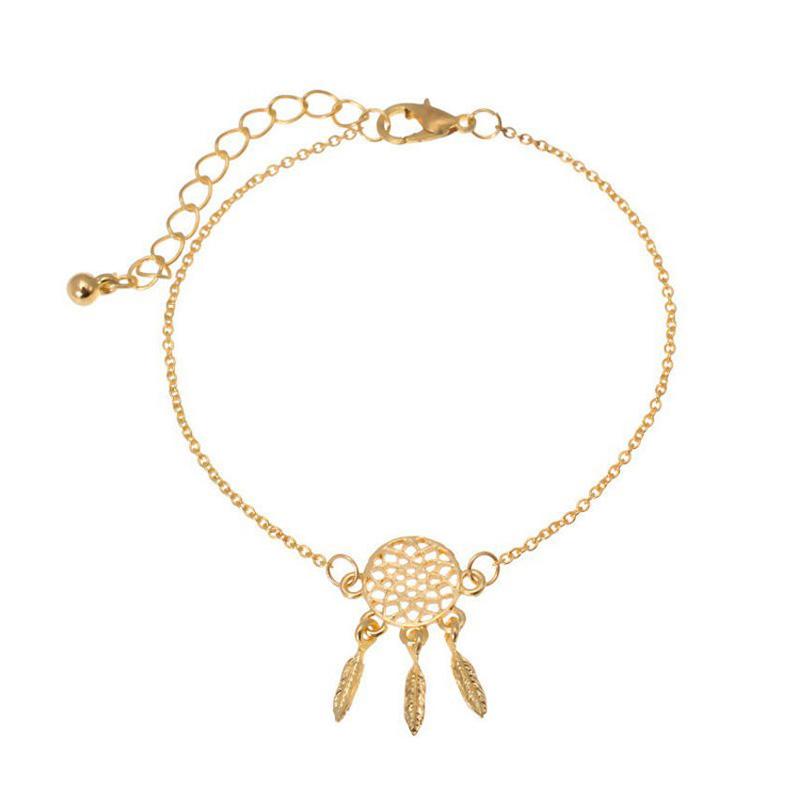 Hot Leaf Feather Tassel Chain Gold Silver Dream Catcher Bracelet Women Jewelry