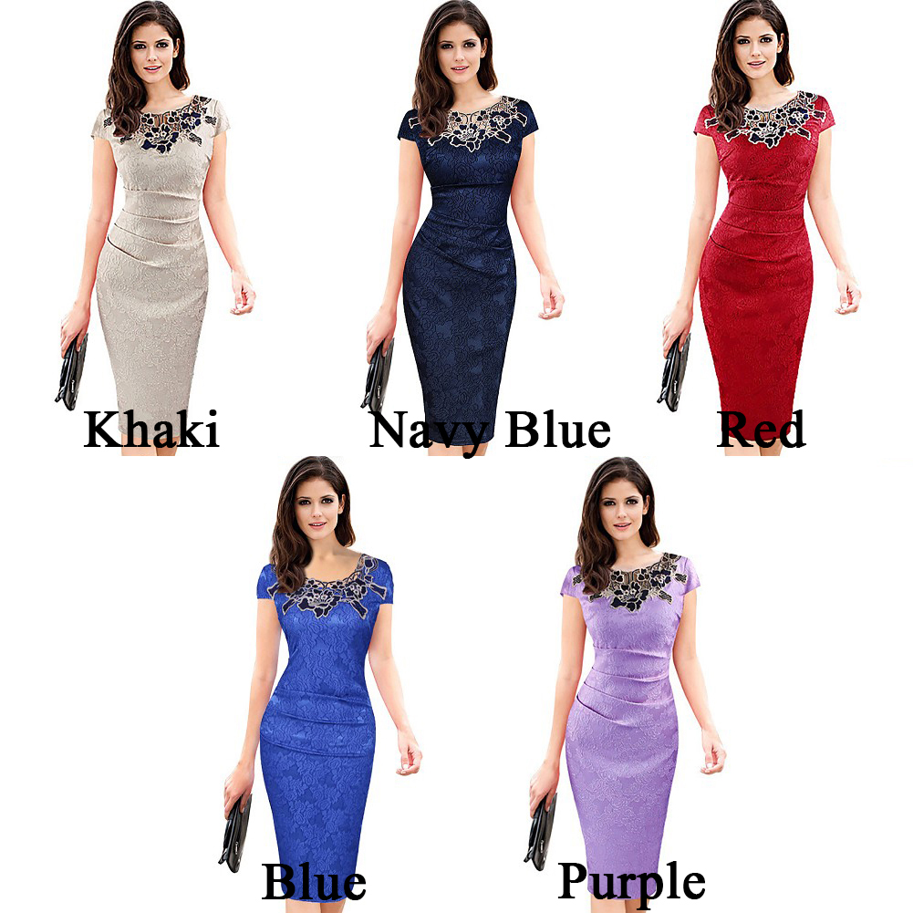 Fashion Elegant Women Embroidered Ruched Pencil Bodycon Ladies Evening Dress