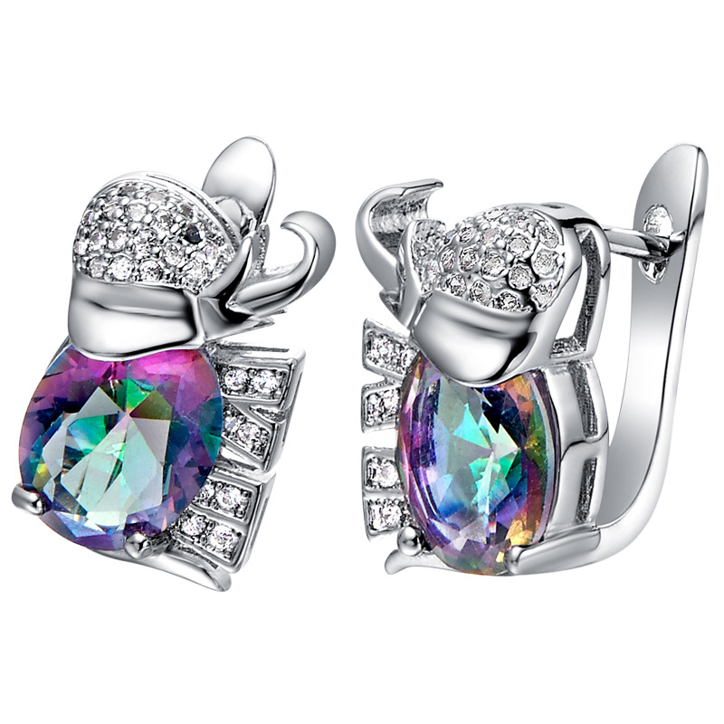18K White Gold Plated Elephant Crystal Stud Earrings Ring Necklace Jewelry Set