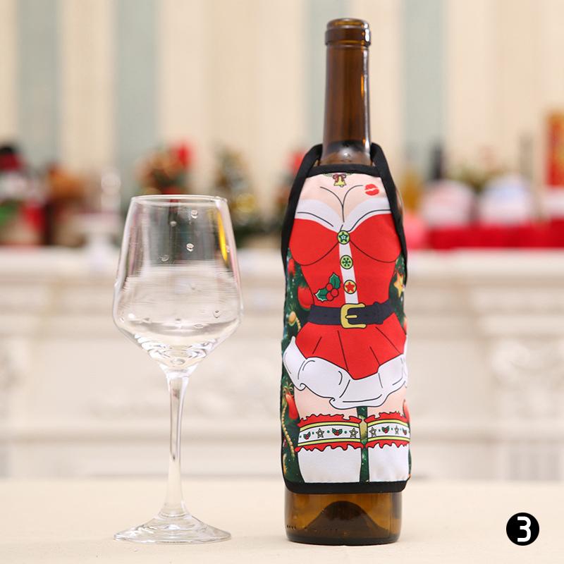 Christmas Apron Bottle Cover Christmas Home Decoration Wine Bottle Xmas Decor