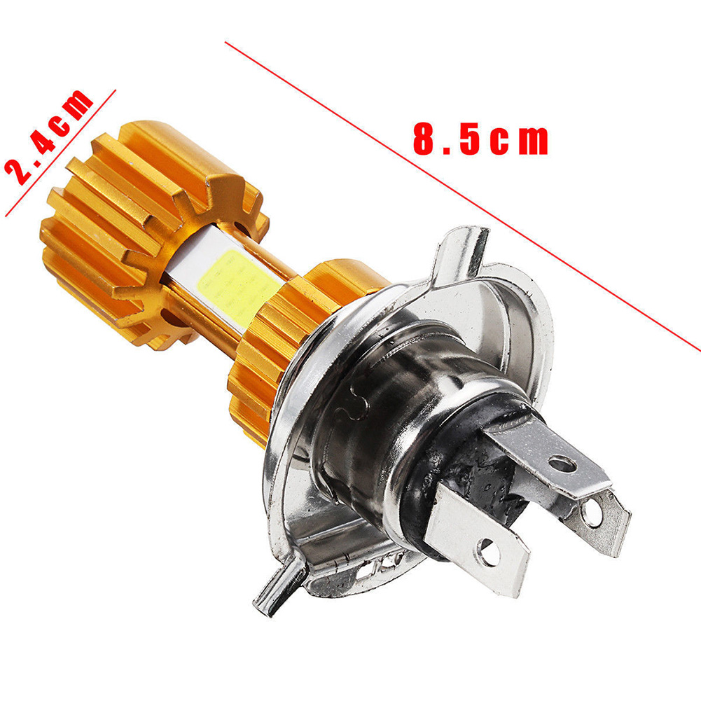 H4 LED 3 COB Motorcycle Headlight Bulb 6000K Hi/Lo Beam Light White 2000LM 18W