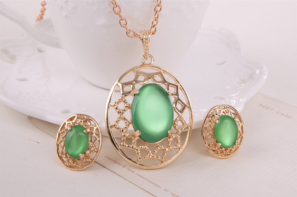 Fashion Gold Plated Jewelry Set Women Opal Pendant Necklace Earrings