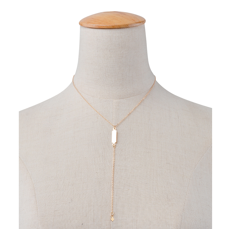 New Simple Women Geometric Copper Tassel Chain clavicle Pendant Necklace Fashion Jewelry Gift