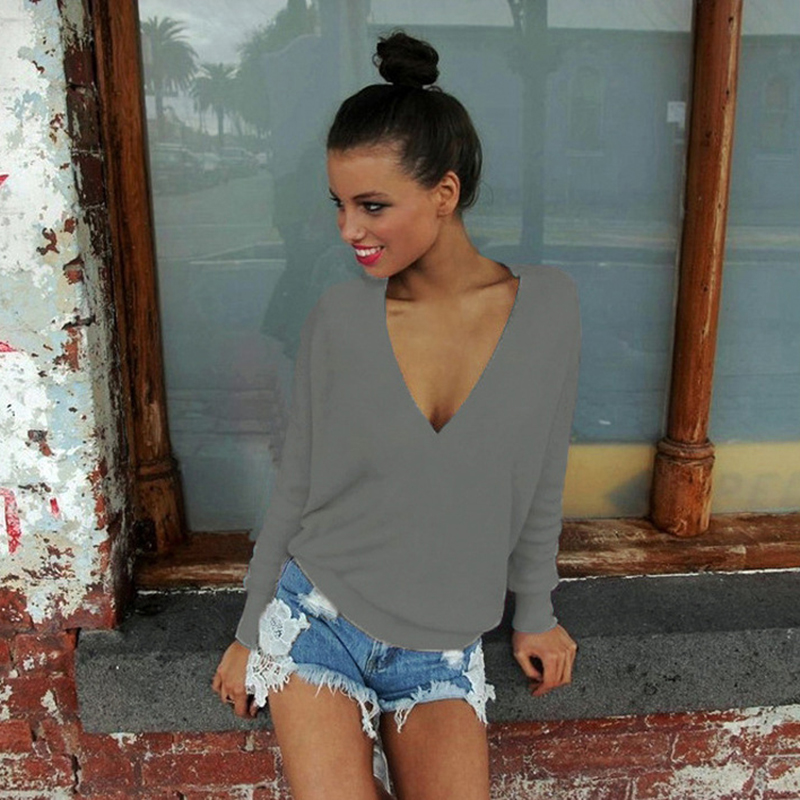 Sexy Women Ladies V Neck Long Sleeve Sweater Jumper Party Tops Loose Blouse Shirt Pullover
