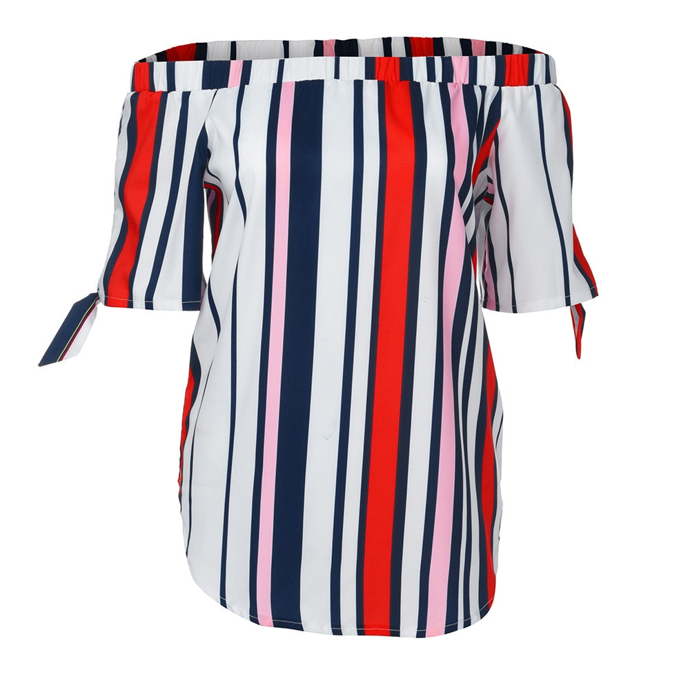 ISHOWTIENDA Fashion Shirts Women Blouses  Women ' s Tops  Casual Half Sleeve Off Shoulder Bandage Stripe Printed Tops Haut Femme